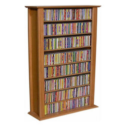 """Venture Horizon - VHZ Entertainment Regular Single Multimedia Storage Rack - Features: -Adjustable shelving.-Lighter & less expensive than the competition.-Choose to assemble any tower with or without the decorative top molding, depending upon the look you want.-Media storage of 464 CDs, 200 DVDs, 110 VHS, or 82 oversized (Disney) VHS.-Number of Shelves: 12.-Material: Wood.-Distressed: No.-Collection: VHZ Entertainment.-Country of Manufacture: United States.-Wall Mountable: No.Dimensions: -Cubbies measure 8.25'' H x 8.25'' W x 6.5'' D.-Overall Height - Top to Bottom: 50"""".-Overall Width - Side to Side: 28"""".-Overall Depth - Front to Back: 9.5"""".-Overall Product Weight: 25 lbs."""
