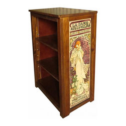 Kelseys Collection - Book cabinet 3 shelf la dame aux camelias Mucha - Book cabinet in solid pine features three adjustable storage shelves with two giclee prints on the side panels, showcasing Alphonse Mucha artwork. The giclee print have three coats of UV inhibitor.Dimensions are 33BY22BY12 Net weight 20 pounds. Three adjustable shelves. Estimated assembly time 20 minutes.