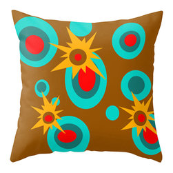 Carsh Pad Designs - Crash Pad Designs Mod Throw Pillow - Elmer - Pop, bang! This pillow explodes with color, and will provide so much vibrancy to your decor. The brilliant mod pattern is printed on both sides of this 100 percent spun polyester poplin fabric pillow, which features a hidden zipper closure and a polyester fill insert. This unique, machine-washable pillow will bring retro-inspired style to your sofa or armchair, and so much cushion.