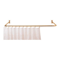"Renovators Supply - Shower Curtain Rods Bright Solid Brass 3 Sided Shower Curtain Rod - Polished brass durable three-sided shower rod measures 5 1/2' long with a 7/8"" diameter and projects 36"" from the wall."