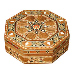 MBW Furniture - Syrian Walnut Mother of Pearl Mosaic Jewelry Box - Walnut  Hand Made CraftsmanshipBurgundy Felt InteriorBurgundy & White Braided Trim Genuine Mother of Pearl Inlay  Strong and Sturdy Handcrafted, Not Mass ProducedThis is a very beautiful octagonal shaped jewelry box made in Syria with hand inlaid mosaic work accented with real mother of pearl. The interior has a burgundy felt-like liner (much more burgundy than these pictures show) and a burgundy and white braided trim along the top edge. The exquisite designs are painstakingly hand crafted. This is a gorgeous jewelry box, absolutely a rariety in the world of Syrian style collectibles. One very seldom sees a box shaped liked this. There is no doubt that this piece will add just the right touch to your collection!