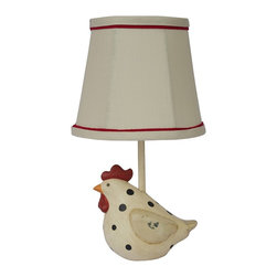 """Lamps Plus - Country - Cottage Big Fat Hen Polka Dot Table Lamp with Linen Shade - Add country charm to a room with this fat hen polka dot table lamp. A rustic finish adds to the folk art look. The linen shade features red trim at the top and bottom to add a hint of brightness. Fat hen polka dot table lamp. Resin construction. Folk art design. Inline switch. Maximum 25 watt candelabra bulb (not included). Red trimmed linen shade. Base measures 7"""" wide 7"""" deep. Shade measures 6"""" wide across the top 6"""" wide across the bottom 4"""" high. 13"""" high.  Fat hen polka dot table lamp.  Resin construction.  Folk art design.  In-line switch.  A small table lamp design.  Maximum 25 watt candelabra bulb (not included).  Red trimmed linen shade.  Base measures 7"""" wide 7"""" deep.  Shade measures 6"""" wide across the top 6"""" wide across the bottom 4"""" high.  13"""" high."""