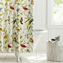 Spring Sparrow Shower Curtain - This shower curtain has a nice vintage vibe about it. I love the colorful birds and the organic brown and green branches. A farmhouse or country-style bathroom would be perfect for this curtain.