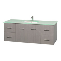 Wyndham Collection - Centra Bathroom Vanity in Grey Oak,Green Glass Counter,UM Sink,No Mirror - Simplicity and elegance combine in the perfect lines of the Centra vanity by the Wyndham Collection. If cutting-edge contemporary design is your style then the Centra vanity is for you - modern, chic and built to last a lifetime. Available with green glass, pure white man-made stone, ivory marble or white carrera marble counters, with stunning vessel or undermount sink(s) and matching mirror(s). Featuring soft close door hinges, drawer glides, and meticulously finished with brushed chrome hardware. The attention to detail on this beautiful vanity is second to none.
