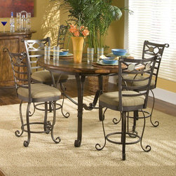 """Riverside Furniture - Stone Forge Counter Stool in Tuscan Sun (Set of 2) - This gorgeous Stone Forge Counter Stool in Tuscan Sun is a pleasing dining piece. It features a swivel seat, upholstered seat cushion and hand forged antique bronze finish. Features: -Hand forged antique bronze finish. -Swivel seat. -Comfortably upholstered seat cushion in lightly textured, tightly woven fabric in subtle blend of earth tone colors (fabric made of 100% polyester). Dimensions: -Seat height: 24"""". -Overall: 41.25"""" H x 23.75"""" W X 24.50"""" D, 44 lbs."""