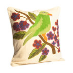 Abigails - Crewel Embroidery Pillow with Bird - A charming pillow with a hand embroidered green bird motif.  This design is traditional crewel work done on heavy linen backing.  A vacuum packed polyfoam pillow form insert is included.