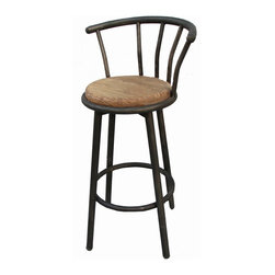 Kosas Collections - Myrna Bar Stool - This attractive Myrna bar stool features quality iron and elm wood in a natural wood color. Update the look and feel of your bar or counter space with this compelling bar stool.