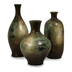 """IMAX CORPORATION - Mazatlan Vases - Set of 3 - With an aged turquoise finish, this set of three rustic vases add color to any room. Set of 3 in various sizes measuring around 23""""L x 12""""W x 20""""H each. Shop home furnishings, decor, and accessories from Posh Urban Furnishings. Beautiful, stylish furniture and decor that will brighten your home instantly. Shop modern, traditional, vintage, and world designs."""