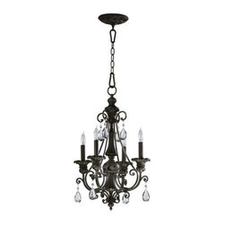 Quorum International - Quorum International 6132-4 Four Light Mini Chandelier from the Fulton Collectio - Four Light Mini Chandelier from the Fulton CollectionA classic in its own right, our Fulton collection is an arresting design that blends elements of Old-World European styling with contemporary features. Curvaceous scrolling arms burnished with a classic bronze finish support glass or fabric shades. The addition of teardrop cut-glass pendants elevate the standard fixture to a glamorous objet d'art.Features: