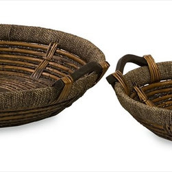 "Imax Worldwide Home - Oversized Willow Trays - Set of 2 - Set of Two Matching Oversized Willow Woven Decorative Trays in Graduated Sizes; Country of Origin: China; Weight: 6.24 lbs; Dimensions: 3.75-4.5""h x 19-24.5""d"