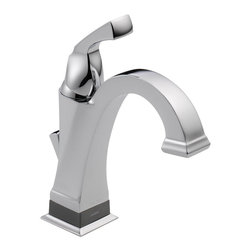 Delta - Delta 551T-DST Dryden Chrome Single Handle Centerset Lavatory Faucet - Delta 551T-DST Dryden Chrome Single Handle Centerset Lavatory Faucet. Featuring geometric lines reminiscent of the Art Deco Period of the Roaring Twenties, Delta's Dryden Collection offers a clean and unique look still popular today. The  focal point of this centerset bathroom sink faucet is Delta's groundbreaking Touch-2-O.xt Technology, giving you the ability to turn this faucet on or off using the traditional single handle, or by a mere touch and now you can even set this faucet to turn off and on simply by being close enough. The Delta 551T-DST is ADA compliant and also features Delta's revolutionary Diamond Seal Technology which makes the valve virtually leak-free and extraordinarily durable through the use of an internal contact surface made up of tiny diamonds. This classic Chrome Lavatory Faucet is part of the Dryden collection, which offers a full complement of coordinating products to create the perfect look.