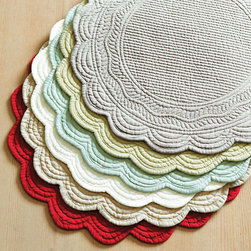 Ballard Designs - Marseille Linen Round Placemats - Set of 4 - Available in Seven vibrant colors. Machine washable. Imported. Enjoy seasonal dining and brighten the table with our favorite springtime colors. We priced our classic, quilted 100% linen place mats and coordinating napkins so you can afford to mix and match your favorite colors. Marseilles Placemat features:. . .
