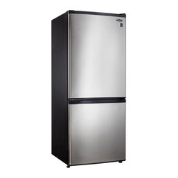 Danby - 9.2 CuFt. Bottom Mount Freezer, Frost Free,Crisper, 2 Glass Shelves - Danby's DFF261BSLDB Energy Star 9.2 Cu. Ft. Bottom-Mount Refrigerator/Freezer is compact and feature loaded. Boasting the coveted Energy Star efficiency, spill proof glass shelves, 2 clear vegetable crispers, and a freezer storage basket, this model is sure to fit all your needs. At just under 60 inches tall and less than 24 inches wide, this compact design is ideal for apartments, condos or as a secondary refrigerator/freezer.Energy star 9.2 cu. ft. total capacity refrigerator with bottom-mount freezer Refrigerator: 6.4 cu. ft capacity; Freezer: 2.8 cu. ft capacity Frost-free operation Interior LED light illuminates without the heat of an incandescent bulb 2 adjustable glass shelves for maximum storage versatility Dual vegetable crisper drawers with glass covers 3 integrated door shelves (one for 2-liter bottle storage) Canstor beverage dispenser Freezer has 1 wire shelf and large storage basket Recessed pocket style handles   danby  dff261bsldb  dff261  bottom-mount  bottom  mount  refrigerator/freezer  refrigerator  freezer  fridge  mid-size  mid  sized  9.2cf  9.2 cu.  ft  Package Contents: refrigerator/freezer manual warranty  This item cannot be shipped to APO/FPO addresses