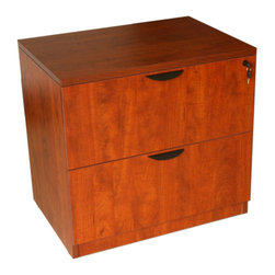 Boss - 2-Drawer Lateral File - Cherry - The two drawer locking lateral file come full assembled and can be used either free standing or under a desk shell. The floor glides allow for application where the flooring may not be perfectly level. It is finished in the Cherry laminate.