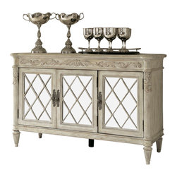 American Drew - American Drew Jessica McClintock Boutique Mirrored Server - Belongs to Jessica McClintock Boutique Collection by American Drew, White Veil Finish, Ornate Style, 2 Doors on LSF, 2 Adjustable Shelves, 1 Door w 3 Drawers , Server 1