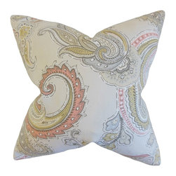 """The Pillow Collection - Kalani Paisley Pillow, Clush 18"""" x 18"""" - Enhance the look and feel of your home with this lovely accent piece."""