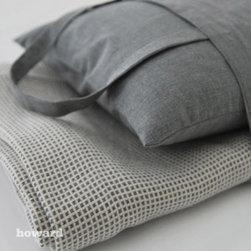 """Area - Howard Grey Travel Set - Includes: 90"""" x 90"""" Grey Basket Weave Cotton Blanket, Soft Grey Cotton Pillow and Bag"""