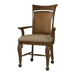 Hooker Furniture - Windward Castered Arm Chair - Set of 2 - White glove, in-home delivery!  For this item, additional shipping fee will apply.  Relaxing with Windward offers a laid back lifestyle wherever the locale.  Windward offers a mellow light brown finish and is crafted using hardwood solids and cherry veneers with raffia accents.  Set of 2 chairs.
