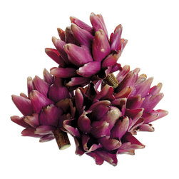 4.5 H x 8.5 W x 8.5 L Artichokes in Box Burgundy - Preserved artichoke (Set of 3). We are the largest silk flower wholesaler / importer in the Southeast for 22 years. We import directly to provide you with the best prices. We carry thousands of items in stock in addition to silk flowers, including artificial trees and greenery.