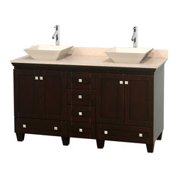 "Wyndham Collection - 60"" Acclaim Double Vanity w/ Ivory Marble Countertop & Pyra Bone Porcelain Sink - Sublimely linking traditional and modern design aesthetics, and part of the exclusive Wyndham Collection Designer Series by Christopher Grubb, the Acclaim Vanity is at home in almost every bathroom decor. This solid oak vanity blends the simple lines of traditional design with modern elements like beautiful overmount sinks and brushed chrome hardware, resulting in a timeless piece of bathroom furniture. The Acclaim comes with a White Carrera or Ivory marble counter, a choice of sinks, and matching mirrors. Featuring soft close door hinges and drawer glides, you'll never hear a noisy door again! Meticulously finished with brushed chrome hardware, the attention to detail on this beautiful vanity is second to none and is sure to be envy of your friends and neighbors"