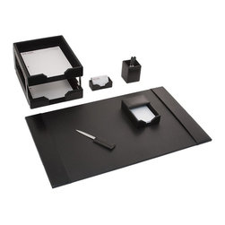 Dacasso Limited Inc - Dacasso Econo-Line Black Leather 8-Piece Desk Set - D1403 - Shop for Desk and Drawer Organizers from Hayneedle.com! About Dacasso Limited Inc.Located in Gainesville Florida Dacasso offers quality desk sets and unbeatable customer service. Dacasso manufactures leather and wood desk accessories and their product line ranges from complete leather desk sets that perfectly present a professional look to leather calendar holders that provide organization for day-to-day responsibilities. A company that believes in its products and service Dacasso guarantees your satisfaction.