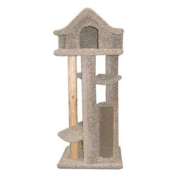 """New Cat Condos - 46"""" Large Pagodas Cat Tree - Features: -Cat tree.-Sturdy solid wood poles.-Larger pagoda design.-Cardboard replaceable scratching pad.-Long lasting durable new plush carpet.-Natural wood scratching pole.-Made in United States.-Please Note: New Cat Condo uses natural wooden posts which may have cracks or imperfections. This will not effect the strength of the product, it's completely normal for any natural wood product. The color of the product may vary from the image.-Distressed: No.-Country of Manufacture: United States.Dimensions: -Dimensions: 46"""" H x 20"""" W x 20"""" D.-Overall Height - Top to Bottom: 46.-Overall Width - Side to Side: 46.-Overall Depth - Front to Back: 20.-Overall Product Weight: 48 lbs."""