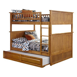 Nantucket Bunk Bed Full Over Full / Raised Panel Trundle / Caramel Latte - Features: