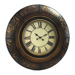 Aspire - 35 in. Brown w Gold Accent Wall Clock - This beautiful wall clock features a large round wooden frame finished in brown w gold accent. Elegant golden carvings decorate the exterior frame. The beige clock face has large, dark roman numerals that make the clock easy to read. Wood. Color/Finish: Brown, gold. Operates using one AA battery (not included). 35 in. H x 35 in. W x 2.5 in. D. Weight: 23 lbs.