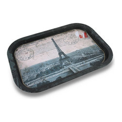 Zeckos - Distressed Finish Vintage Paris Postcard Food Safe Decorative Metal Serving Tray - This decorative food tray boasts a food safe baked on vintage Paris postcard theme perfect for entertaining Serve your guests, friends and family their favorite snacks, your famous fare or drinks in style. This 15.75 inch long, 11.25 inch wide, 3/4 inch deep (40 X 29 X 2 cm) tin serving tray features a black distressed finish and is great to use for display or as a vanity tray, too This food tray is great as a gift for the worldly traveler or Paris lover sure to be enjoyed