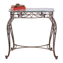 Welcome Home Accents - Dragonfly Console Table - Rectangular hall table, perfect for entryway or behind couch, features hand inlaid bejeweled dragonflies and a glass top. Intricate metal curves with antiqued nickel finish.  Durable metal frame.  Dust with a dry cloth. Some assembly required.