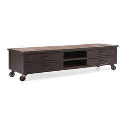 Zuo Era - Fort Mason Entertainment Stand Distressed, Natural - Adding a sense of originality to your living room or home theater is easy with this beautiful TV stand. This entertainment stand features wheels so that it can be easily moved.