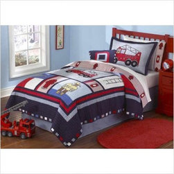 Pem America Fireman Quilt Mini Set - Be the hero of the day for your little fire fighting fan with the Pem America Fireman Quilt Mini Set. This vibrantly colored quilt set sports images of firemen and other fire fighting related items in hues of bright red and blue. Each detail has been hand crafted on 100% cotton and each quilt has been pre-washed for softness straight out of the bag. Don't worry about caring for your quilt set maintenance is a breeze - just throw it in the wash when you feel it needs some extra love. Set includes one to two shams depending on what size is ordered. Get fired up about this quilt set; you're going to love it!Bedding Set ComponentsTwin: quilt 1 pillow shamFull/Queen: quilt 2 pillow shamsAbout Pem AmericaMakers of high quality handcrafted textiles Pem America Outlet specializes in bedding that enhances your comfort and emphasizes the importance of a good night's rest. Quilts comforters pillows and other items for the bedroom are made with care and craftsmanship by Pem America. Their products cover a wide range of materials styles colors and designs all made with long-lasting quality construction and soft long-wearing materials. Details like fine stitching embroidery and crochet decorations and reinforced seaming make Pem America bedding comfortable and just right for you and your family.