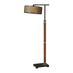 Allendale Drum Shade Floor Lamp - *Distressed Burnished Wood With Aged Black Details, Coffee Bronze Accents And A Pivoting Shade. The Round Drum Shade Is A Golden Bronze Grass Cloth With A Linen Liner And Aged Black Metal Trim.