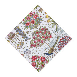 KAF Home - Paradis Napkin, Set of 4 - This exquisite napkin features a colorful and artistic design that transforms any dining table into a culinary paradise. Proud peacocks strut through a lush garden, bringing with it a sense of life and vitality.