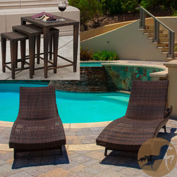 Christopher Knight Home - Christopher Knight Home Outdoor Brown Wicker 5-piece Adjustable Chaise Lounge Se - A summertime classic youll be certain to enjoy, this brown wicker outdoor chaise lounge set includes two adjustable lounge chairs and three nesting tables just right for holding drinks, books, and sunglasses. Perfect for patio or poolside use.