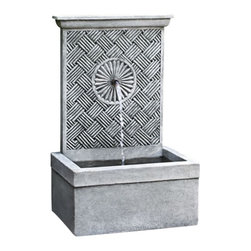 Campania - Solaris Garden Water Fountain, Alpine Stone - The charming Solaris Fountain is a lovely wall fountain that will create a wonderful accent for an empty garden wall or on your patio setting.  Water flows from the top of the fountain and into the rectangular basin below. This tranquil little piece is sure to add serenity and harmony to any garden setting, creating a fun focal point.