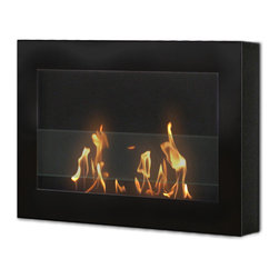 Anywhere Fireplace - Anywhere SoHo Indoor Wall Mount Bio-Ethanol Fireplace (Black) - The clean, geometric, sophisticated design of the wall mount SoHo model of the Anywhere Fireplace is a stunning addition to any room. It works with any decor. The warm glow created by the dancing flames of the fire will create atmosphere anywhere you wish to hang it including your living room, bedroom, family room, dining room, or anywhere. Very easy to install on any wall and mounting hardware is included. Never substitute any other fuel in place of liquid fuel for ventless fireplaces. Always read all instructions on your firelplace and the fuel bottle.