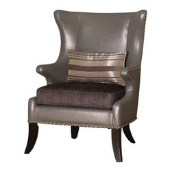 "Acme - Fawn 2 Tone Faux Leather and Fabric Flashy Style Wing Back Accent Side Chair - Fawn 2 tone shiny faux leather and fabric flashy style wing back accent side chair with nail head trim. Measures 32"" x 31"" x 43""H. Some assembly may be required."