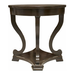 """Noir - Noir Bilbao Distressed Brown End Table - Featuring natural, simple and classic designs, Noir products supply a timeless complement to a variety of interiors. An intricate design is disguised by simple lines in the Bilbao round end table. Graceful and grand, the cabriole legs end in a scroll, resting on a solid ledge that adds presence and stability. The distressed brown lacquer finish provides antique appeal to its handmade birch wood frame.  30""""D x 28""""H."""