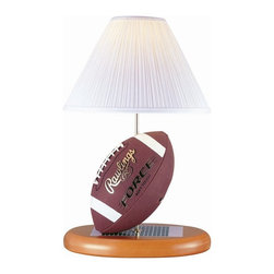 Lite Source - Football Lamp w White Shade in Natural Base - Incandescent bulb not included. Bulb watt: 100W. Bulb voltage: 120. Shade dimension: 5 in. L x 14 in. W x 9 in. H. Lamp dimension: 14 in. W x 22.5 in. H (8.5 lbs.). Product Installation Instructions
