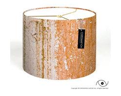 Drum Lamp Shade - Orange Wall. -