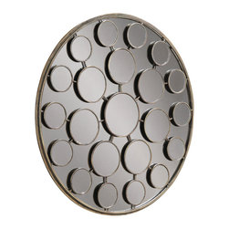 Bassett Mirror - Round Mirror on Mirror - Antique Crackled Gold with Clear Mirror - Round. Measures: 36 in. Round.