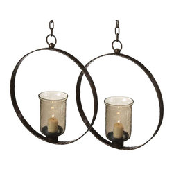 Round Hanging Candle Holders (pair) -