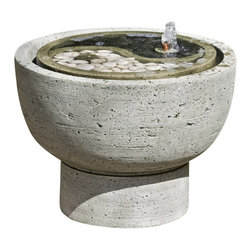 Campania - Yin Yang Pot Garden Water Fountain, Greystone - The Yin Yang Pot Garden Fountain is the wonderful way to transform your outdoor spaces into a peaceful haven. This fountain features the powerful yin yang symbol as water trickles up from a small finial and streams into a simple pedestal basin. You'll absolutely enjoy and admire the calming atmosphere this fascinating piece creates.