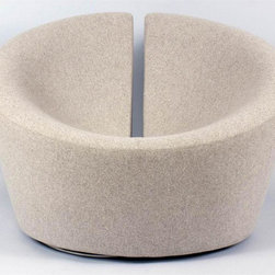 Control Brand - Contemporist Lovers Lounge Chair - Contemporary style. Swivel. Rich cashmere fabric upholstery. Reinforced fiberglass frame. High-density foam. Polished swiveling stainless steel base. Wheat color. 28 in. W x 27.5 in. D x 37.75 in. H (66 lbs.)