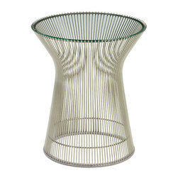Knoll - Platner Side Table - Here's the side table that will weld together your classic 1960's living room. You could start by outfitting your sunroom or covered desk with this contoured wire table. Topped with a glass top, it's a clear reflection of your stylish taste and add an iconic decorative touch to your favorite spaces.