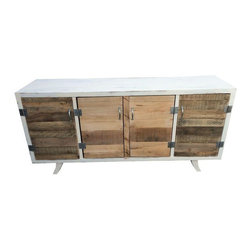 Pre-owned Mid-Century Sideboard with Reclaimed Wood Doors - A Mid-Century sideboard, which has been painted and distressed on the outside as well as inside. Doors have been replaced with reclaimed wood and industrial style hardware. Stylish curved legs.