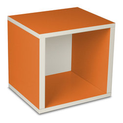 Way Basics - Cube, Orange - Think inside the box! Create more space in close quarters with stackable modular storage cubes. Simple no-tool construction — just peel and stick — means you can build 'em in nothing flat. They're durable, versatile and formaldehyde- and VOC-free.