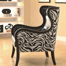 Celine Exposed Wood Zebra Print Accent Chair with Nailhead Trim -