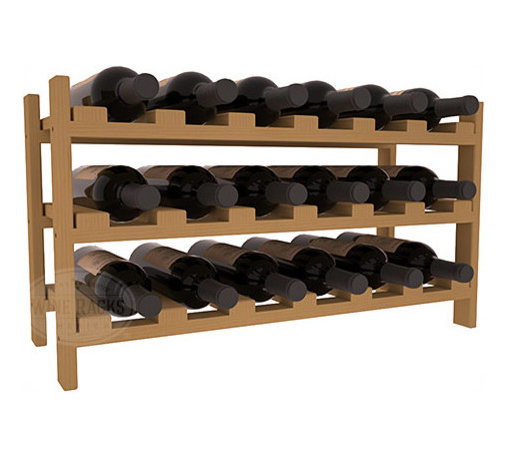 18 Bottle Stackable Wine Rack in Pine with Oak Stain - Expansion to the next level! Stack these 18 bottle kits as high as the ceiling or place a single one on a counter top. Designed with emphasis on function and flexibility, these DIY wine racks are perfect for young collections and expert connoisseurs.